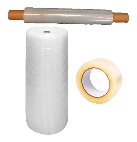 combo embalaje mudanza  papel globito + cinta + film stretch