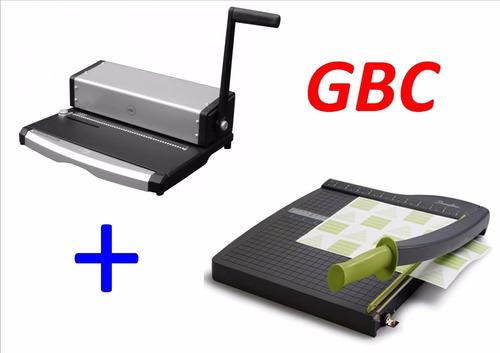 combo engargoladora gbc ar. metal y espiral + guillotina gbc