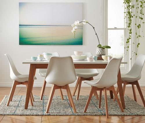 combo escandinavo mesa 160 + 6 sillas  - living style