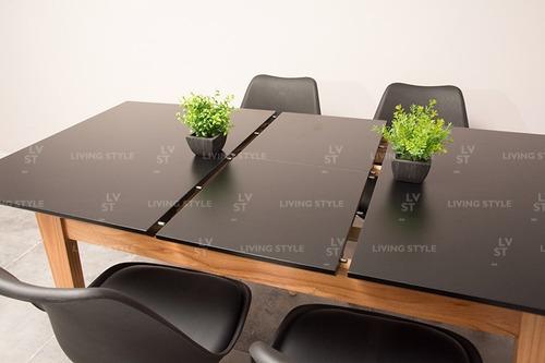 combo escandinavo mesa extensible 160 a 200 + 6 sillas tulip