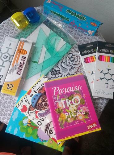 combo escolar: cuadernos, juegos de escuadra, temperas