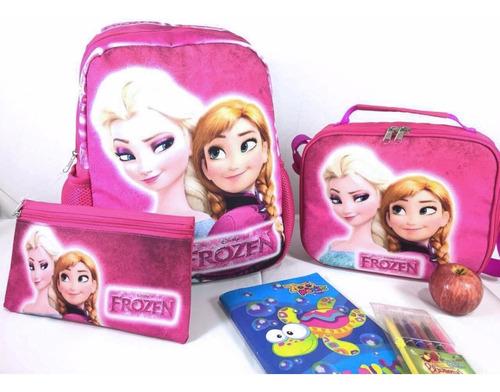 combo escolar maleta + cartuchera + lonchera termica frozen