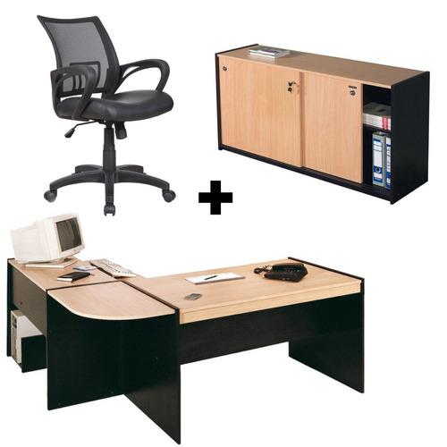 combo escritorio en l + silla operativa + biblioteca baja