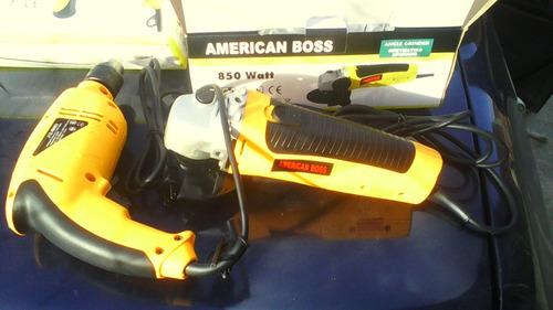 combo esmeril 4 1/2 pul y taladro percutor 1/2 american boss