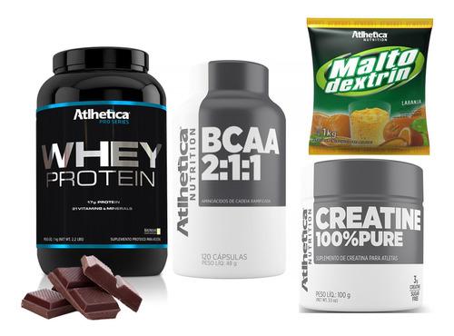 combo essencial academia proteina + creatina + bcaa + malto