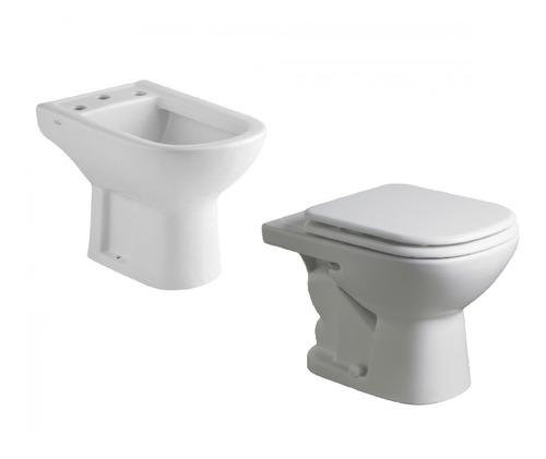 combo ferrum bari bidet + inodoro corto blanco baño completo