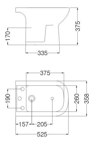 combo ferrum bari inodoro largo deposito dual + tapa + bidet