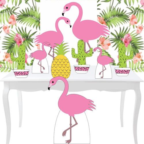 combo festa prata totem painel festa flamingo tropical 88cm