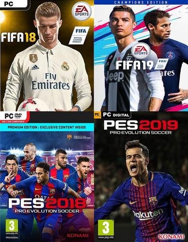 combo fifa 18, fifa 19, pes 2018 & pes 2019 para pc español