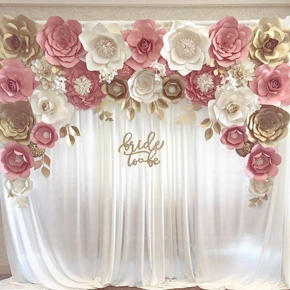 Combo flores de papel cartulina boda 15 a os decoracion for Decoracion con plantas para fiestas