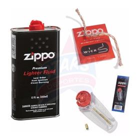 Combo Fluido Zippo Combustible 12 Oz + 6 Piedras + Mecha