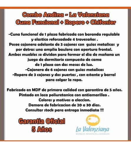 combo funcional andina + ropero + chifonier la valenziana
