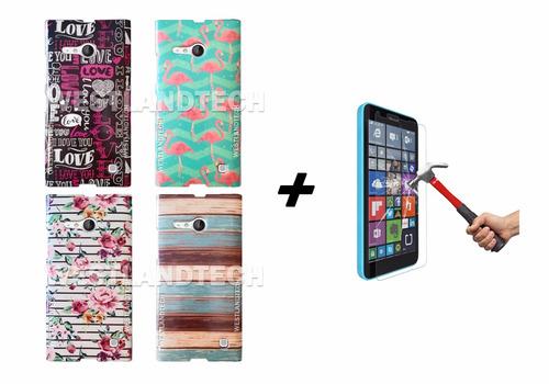 combo funda tpu diseño nokia lumia 735 + vidrio templado