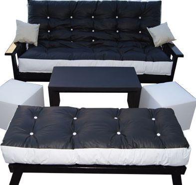 combo futon 3 cpos+colchon+mesa tapizada+banqueta+2 puf+almo