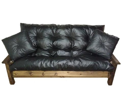 combo futon 3 cuerpos estilo campo+mesa ratona grande+2 puff