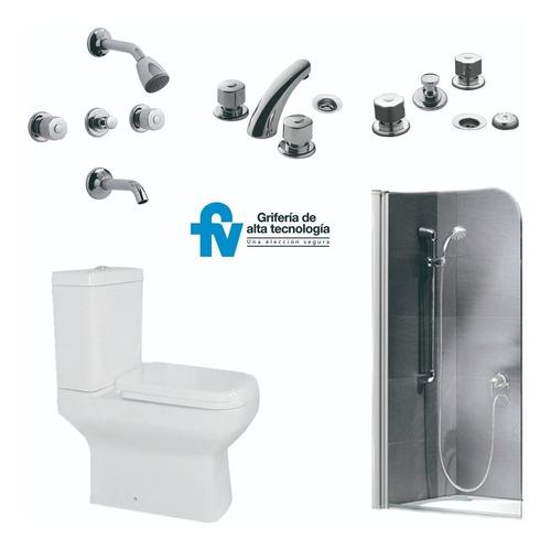 combo fv griferia ducha lavatorio inodoro mampara 6 cuotas