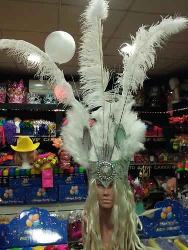 combo galeron river y casco de plumas blanco con luz - bodas