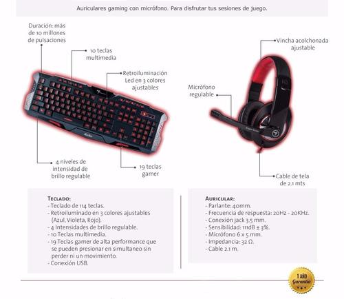 combo gamer teclado mouse auricular pad retroiluminado kit