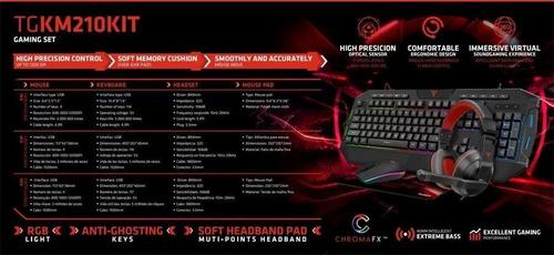 combo gamer teclado + mouse + auricular + pad targa tg-km210
