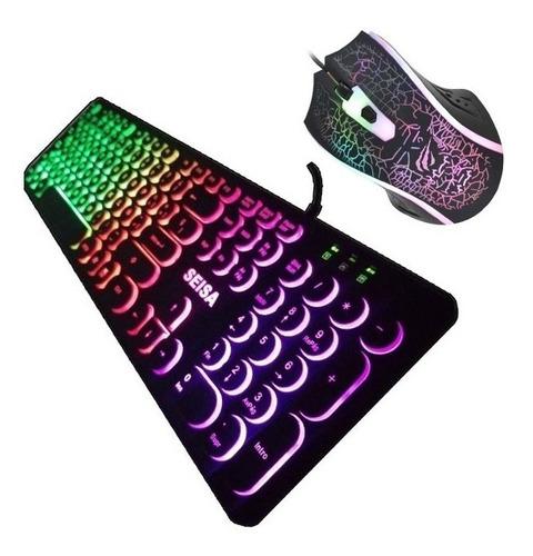 combo gamer teclado rgb seisa redon + mouse 4 boton rgb vsg