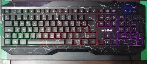 combo gamer teclado rgb weibo + mouse 4 boton rgb vsg 1200dp