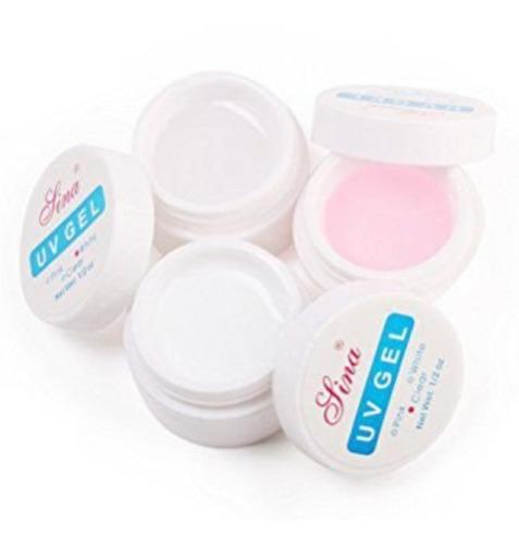 combo gel lina uv construcción uñas esculpidas x 3 unidades blanco transparente rosa
