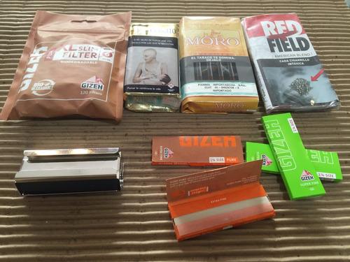 combo gizeh-set para armar cigarrillos-con tabaco para armar
