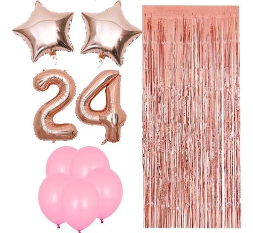 combo globos números gold rose x2, cortina, perlados rosa