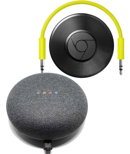 combo google home mini + google chromecast audio vitrine