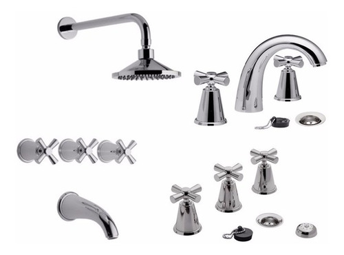 combo griferia baño completo chess fv lavatorio bidet ducha