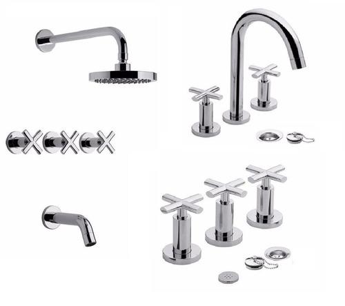 combo griferia baño completo nerea fv lavatorio bidet ducha