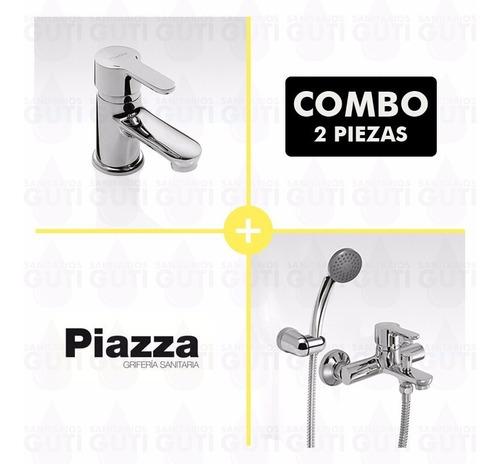 combo grifería baño piazza emblem yvon lavatorio ducha ext