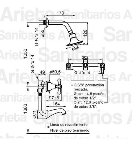 combo griferia fv denisse cruz lavatorio ducha + kit cs5497