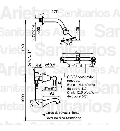 combo griferia fv denisse lever lavatorio ducha + kit cs5506