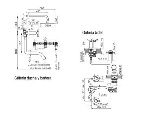 combo griferia triades fv juego bidet y ducha c/ transfer.