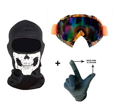 combo guantes térmicos + pasamontañas + antiparras de nieve