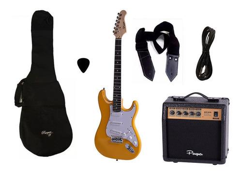 combo guitarra electrica parquer amarilla amplificador 10w