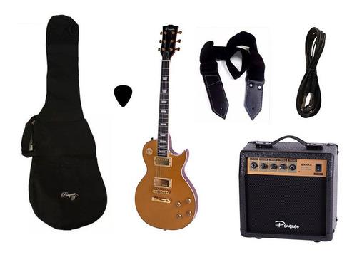 combo guitarra electrica parquer lp dorada amplificador 10w