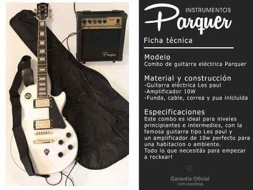 combo guitarra electrica parquer lp zurdo bk amplif 10 cuota