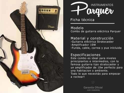 combo guitarra electrica parquer negra amplificador 10w
