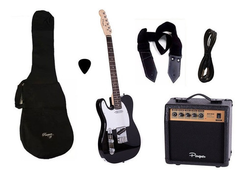 combo guitarra electrica zurdo tele bk parquer amplif cuota
