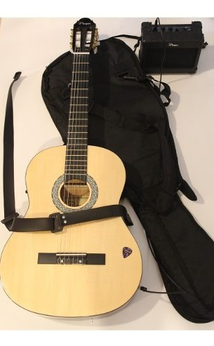 combo guitarra electrocriolla+funda+correa+ampli 5w parquer