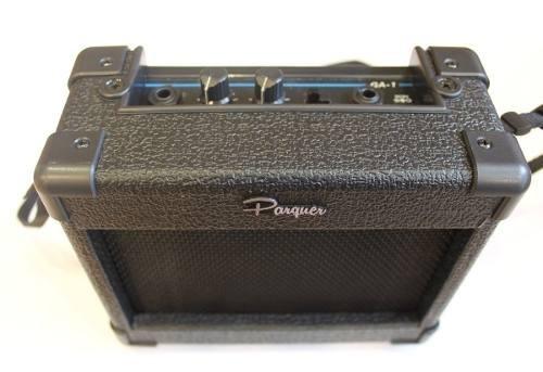 combo guitarra t.stratocaster+funda+correa+ampli 5w parquer