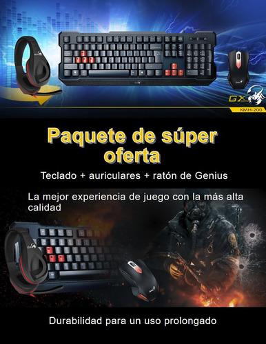 combo gx gaming: teclado + mouse + diadema - genius kmh-200
