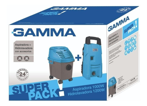 combo hidrolavadora 1200w + aspiradora 10 lts 1000w gamma