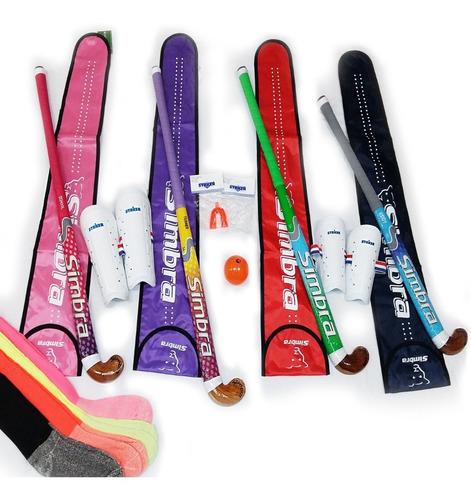 combo hockey : palo+bucal +canilleras +funda +bocha + medias