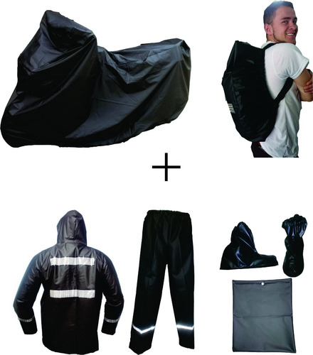combo impermeable moto x3 pijama + traje + forro maleta xxl