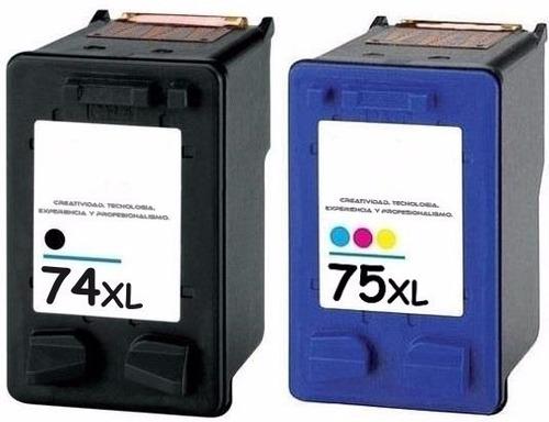 combo impresora cartucho 74 y 75xl negro y color alternativo