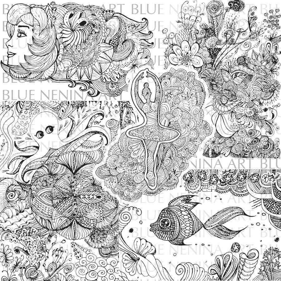 Moderno Zentangle Imprimibles Festooning - Ideas Para Colorear ...