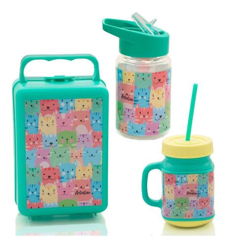 combo infantil botella lunchera jarro taza nene nena niños
